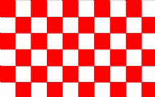 CHECKERED RED & WHITE - HAND WAVING FLAG (MEDIUM)